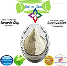 Detox Duo: Volcanic Bentonite Clay & Amorphous Diatomaceous Earth (8oz Each, Total 16oz) Food Grade & 100% Natural