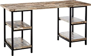 Skelton Writing Desk with Metal Frame Salvaged Cabin and Black