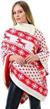 Ladies A very Merry Christmas Reindeer Snowflakes Chrisrmas Xmas Cape Poncho Size Small to 3XL