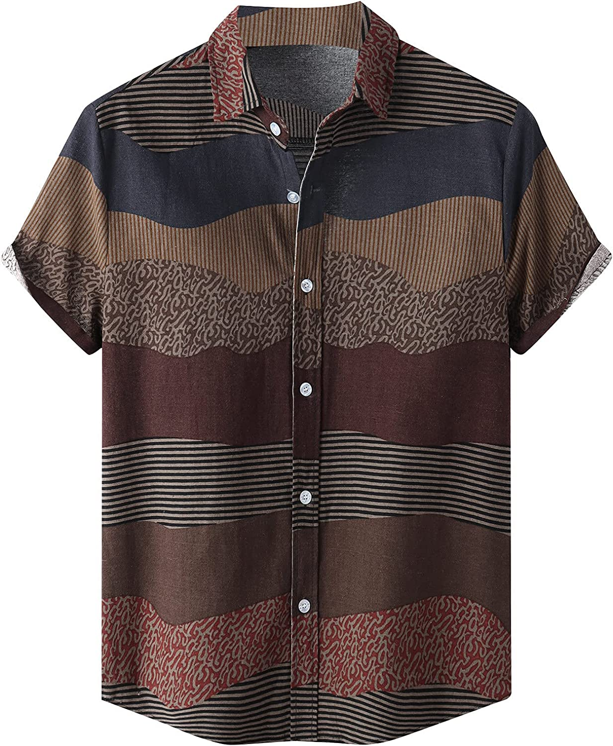 Mens Ethnic Printed Vintage Shirts Blouse Short Sleeve Casual Linen Button Down Shirt Summer Comfort Tops