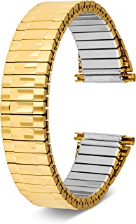 Men's Top Stainless Steel Stretch Watch Band, Oyster Style Look Expansion Tapered Metal, Choice of Colors (16mm,18mm, 20mm or 22mm) Straight and Expandable Ends, No Clasp - by United Watchbands
