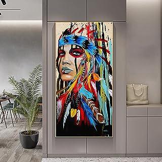 HONGC Aquarelle Femme Indienne avec Plumes Affiches Et Gravures pour Salon Décoration Murale Pop Art Fille Indienne Toile ...