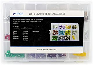 Low Profile Blade Fuse Assortment 165 pcs Assorted Auto Car Truck 2A 3A 5A 7.5A 10A 15A 20A 25A 30A 35A 40AMP & 1 Fuse Puller | Car Boat Truck SUV Automotive Replacement Fuses (165PC low profile fuse)