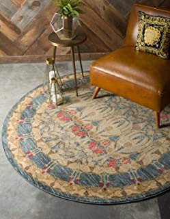 Unique Loom Edinburgh Collection Oriental Traditional French Country Navy Blue Round Rug (6' 0 x 6' 0)