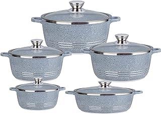 Die-Cast Granite Non-Stick Cooking Pot Set, Dessini Made In Italy (Grey)