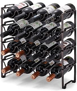 Simple Trending 4-Tier Stackable Wine Rack, Standing Bottles Holder Organizer, Wine Storage Shelf, Towel Rack for Kitchen Pantry Cabinet, Hold 16 Bottles, Bronze