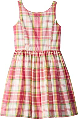 Madras Cotton Sleeveless Dress (Big Kids)
