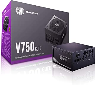 Cooler Master V Gold 750W Full-Modular Semi-Fanless 80 Plus Gold Certified Silent 135mm FDB Fan 16AWG PCIE Cables DC-to-DC...