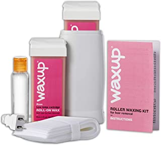 waxup Roller Waxing Kit, Home Depilatory Soft Wax Warmer (Heater), 25 Non Woven Wax Strips for Hair Removal, Oil Wax Remover, 2 Rose Roll On Wax Cartridge Refill, Men and Women, Sensitive Skin.