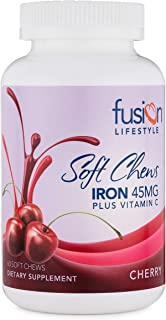 Fusion Lifestyle 45 mg Iron Supplement Cherry Soft Chew Plus Vitamin C for Iron Deficiency, 60 Count