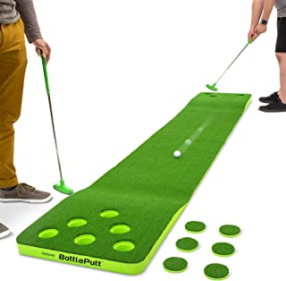 GoSports Battleputt Golf Putting Game | 2-on-2 Pong Style Play with 11' Putting Green, 2 Putters and 2 Golf Balls
