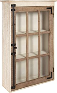 Kate and Laurel Hutchins Farmhouse Wood Wall Storage Cabinet with Window Pane Glass Door, Rustic and White-Washed Finish, 31.5-inches Tall x 19.5-inches Wide x 6-inches deep