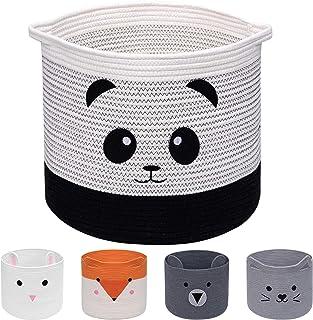 AXHOP Panier à linge pliable en corde de coton, panier à jouets panier de rangement pour enfants, vêtements, décoration de...