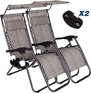 Vosson Lounge Zero Gravity Chair 2 Pack Zero Gravity Lounge Chair for Patio Beach Outdoor Camping Pool Yard with Pillow&Canopy Shade&Cup Holder Tray(Grey)