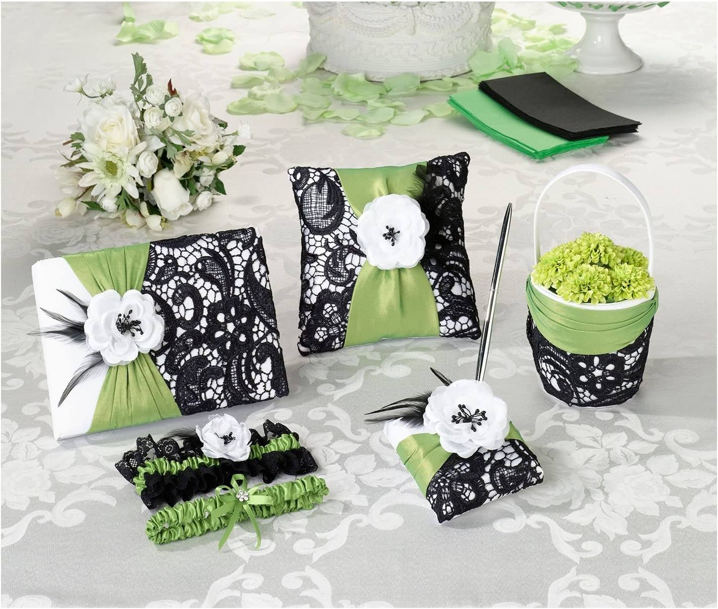 Manufacturer OFFicial shop Lillian Rose Accented 5 Year-end gift Piece Collec Ring Flower Pillow Basket