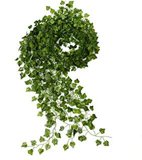 ARTIFICIAL SILK IVY DECOR - Fake Garland 12 pack, 84 ft Green Leaf Vines Wedding Party Foliage - Kitchen Plant Greenery - DIY Home Office Spring Floral - Outdoor Gardens Leafy Garland