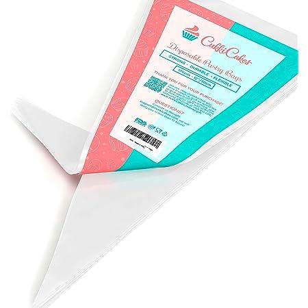 CukkiCakes 100 Poches à Douilles Jetables Professionnels (Tailles : 30/47/53cm) - 100% Recyclables - Très Épais (0.08mm)