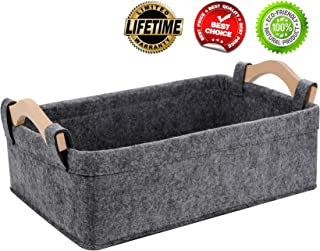KWLET Small Baskets Small Storage Baskets Bin Narrow Storage Basket for Towels Dog Cat Toys Clothes Blankets Office Supplies Dippers Baby Toys Storage Basket Light Gray