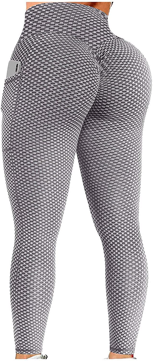 Fankle Tiktok Butt Leggings for Women Workout Fitness Athletic Tights High Waisted Bubble Hip Lift Yoga Pant with Pocket
