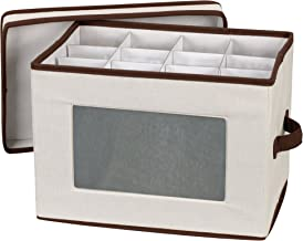 Household Essentials Natural 544 Stemware Storage Box with Lid and Handles | Champagne Glasses Canvas with Brown Trim