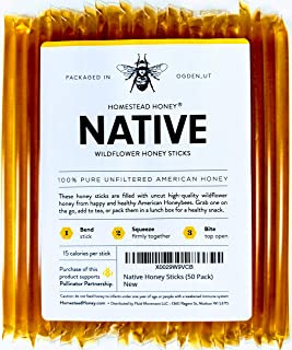 Native Honey Sticks, Pure and Uncut Honey Straws Made in the USA with Real Wildflower Honey (50 Pack)