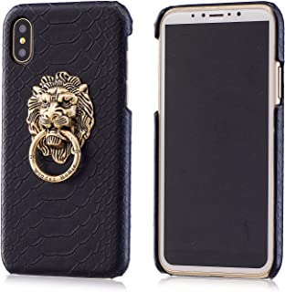 BONTOUJOUR iPhone 7/ iPhone 8 Case, Creative Chinese Noble Lion Head Door Style Phone Case with Ring Phone Holder at Back, Ultra Slim Strong Protection -Black