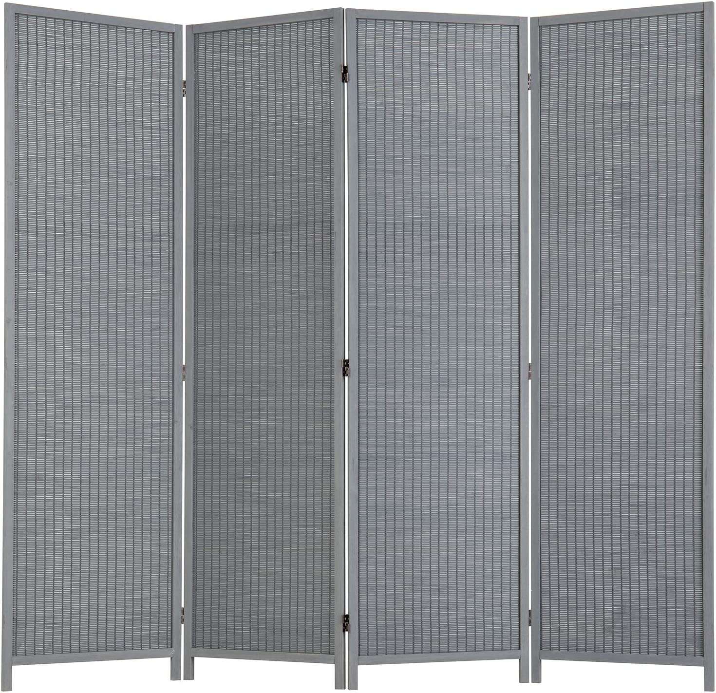 MyGift Max 48% Sale special price OFF 4-Panel Freestanding Contemporary Gray Bamboo Room Woven