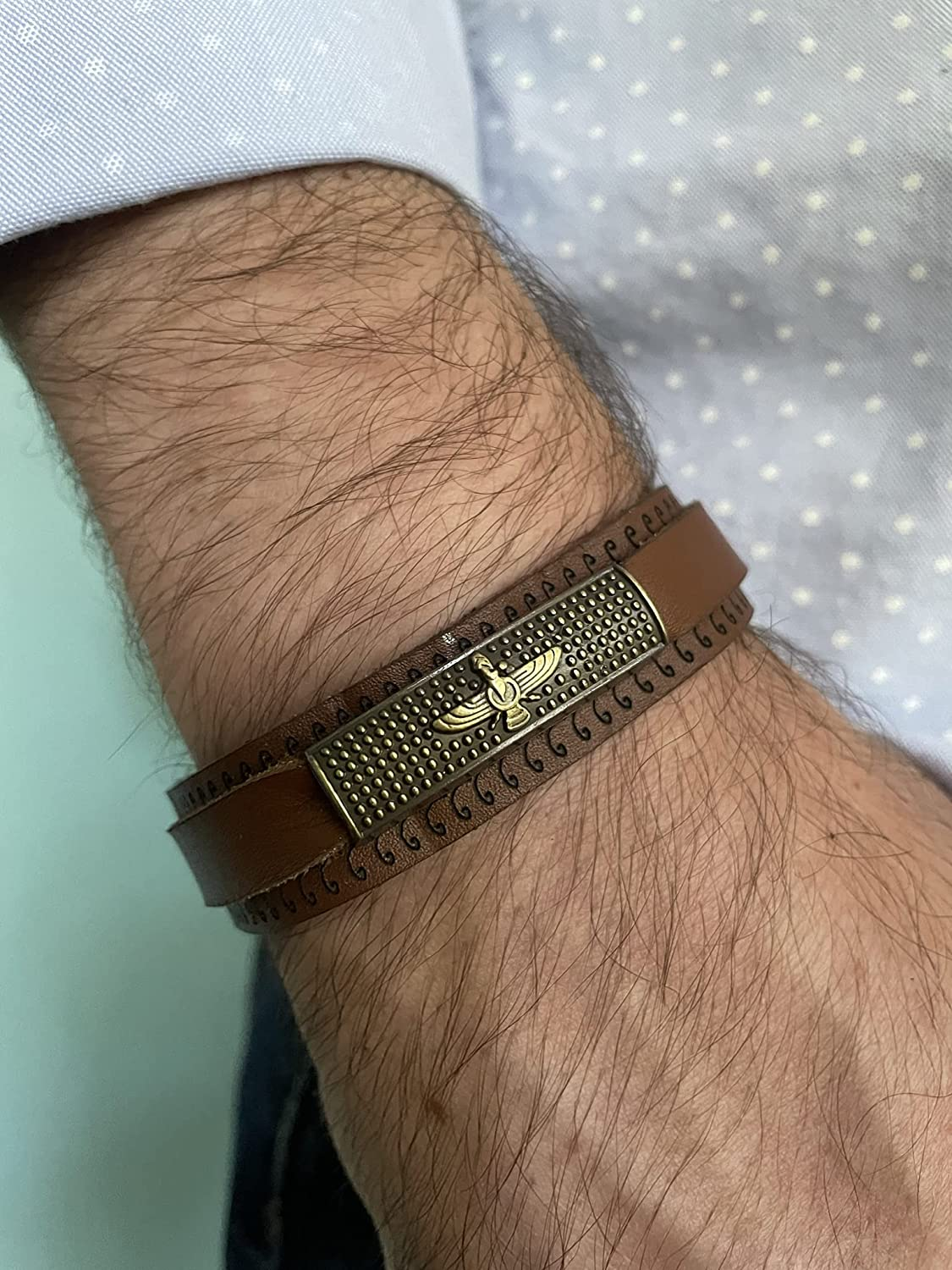 Farvahar Soft Natural and Handmade Bracelet Mazd Ahura Max 44% OFF Leather Cheap mail order shopping