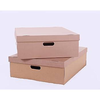 StorePAK R10844 - Caja de almacenaje y tapa de cartón para debajo de la cama (50 L, 2 unidades), color marrón: Amazon.es: Oficina y papelería