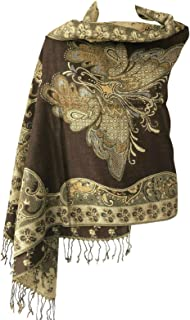 Women Soft Metallic Sparkly Double Layer Reversible Pashmina Shawl Wrap Shimmer Scarf