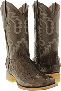 Team West - Men's Brown Crocodile Print Leather Cowboy Boots Square Toe
