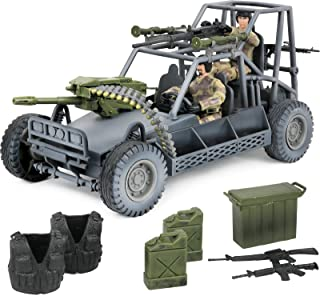 Click N' Play Military Vehicule Play Set with Accessories. Buggy Jeep Play Set