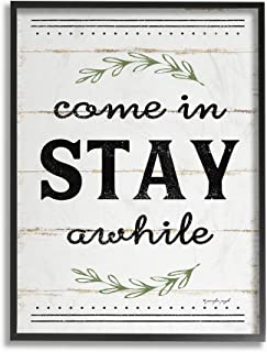 Stupell Industries Come Stay Awhile Rosemary Typography Distressed White Oversized Framed Giclee Texturized Art, 16 x 1.5 x 20, Proudly Made in USA
