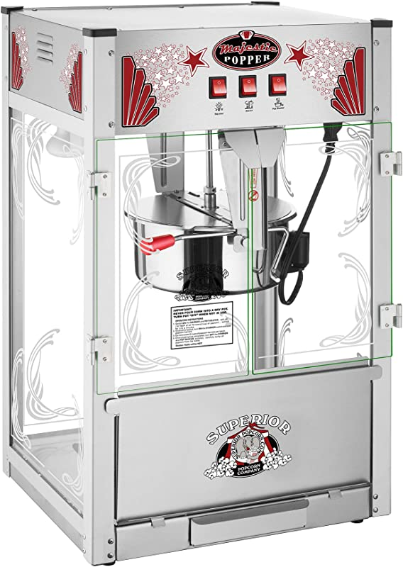 Majestic Popcorn Machine Commercial Style Popcorn Popper Machine Makes Approx 7 5 Gallons Per Batch By Superior Popcorn 16 Oz