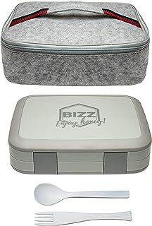Bizz Bento Lunchbox & Bag Set with Utensils, Removable Microwaveable Dishwasher Safe Tray, Kids Adults, Leakproof 5-Compar...