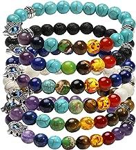 Milakoo 1-6 Pcs Evil Eye Bracelet Lava Stone Beads Essential Oil Diffuser Bracelet for Men Women