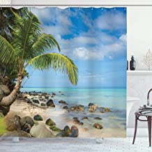 Ambesonne Seaside Decor Collection, Romantic Beach Tranquil Scene Palm Trees Caribbean Island Nature Photography, Polyester Fabric Bathroom Shower Curtain, 75 Inches Long, Blue Ivory Green Aqua