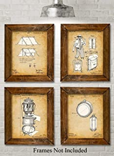 Original Camping Patent Prints - Set of Four Photos (8x10) Unframed - Makes a Great Gift Under $20 for Campers and Hikers