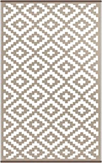 "Green Decore ""Nirvana"" Outdoor/Reversible Eco Plastic Rug, Taupe/White"