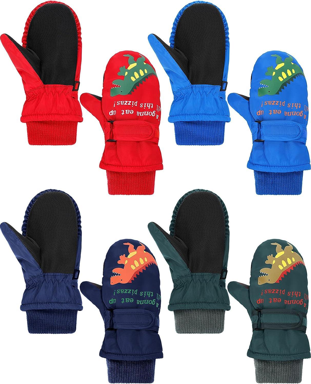 4 Pairs Kids Winter Gloves Toddler Waterproof Ski Gloves Warm Snow Gloves Mittens for Boys Girls Cold Weather