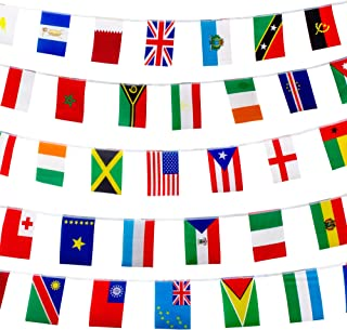 200 World Country Flags International Banner Bunting Pennant, 165 Feet 8.2'' x 5.5'', for Party Decorations, Bars, Sports Clubs, Events, School Festivals, Celebrations + Free Country Fun Facts Guide