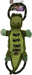 Charming Pet Ropes-A-Go Squeaky Dog Toy - Tough and Durable Interactive Soft Plush Animal Tug Toy