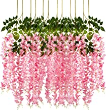 Pauwer 12 Pack 3.6 Feet/Piece Artificial Wisteria Vine Ratta Fake Wisteria Hanging Garland Silk Long Hanging Bush Flowers String Home Party Wedding Decor (Pink)