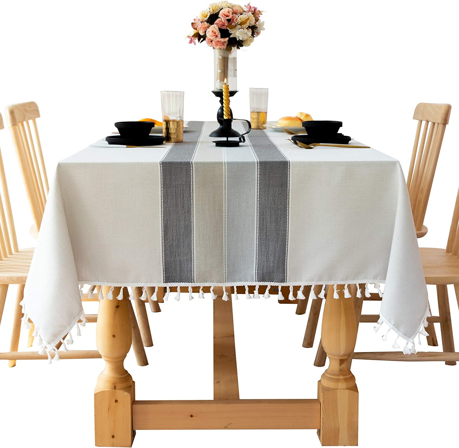 Uyis Black and Grey Cotton Linen Fabric Great interest Ranking TOP16 Stripe Table Tablecloth