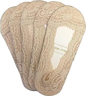 Bella Moda Women's Lace Casual No Show Non-skid Boat Socks Set of 5