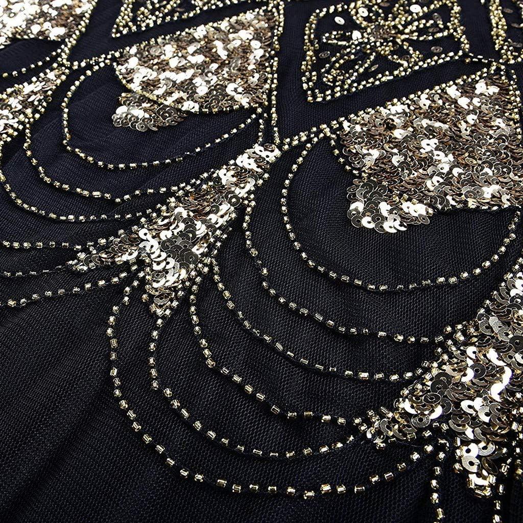 OverDose Damen Damen Abendkleid 20er Jahre Kleid Pailletten Gatsby Maxi Langes Ballkleid