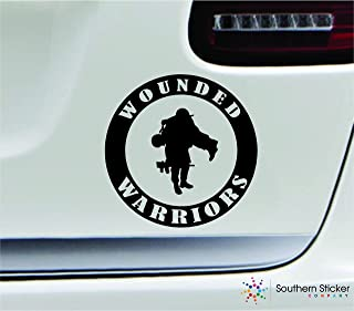 Wounded warriors symbol 5.4x5.4 black marine navy army military soldier veteran united states america color sticker state decal vinyl - Made and Shipped in USA