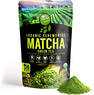 Pure Ceremonial Matcha Green Tea Powder - Classic Ceremony Grade - USDA Organic - Bulk 113gm / 4oz - Perfect for premium Starbucks Latte, weight loss Smoothies & Keto Baking