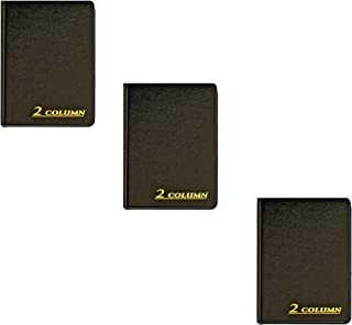 Adams Account Book, 2-Column, Black Cloth Cover, 9.25 x 7 Inches, 80 Pages per Book, Sold as 3 Pack
