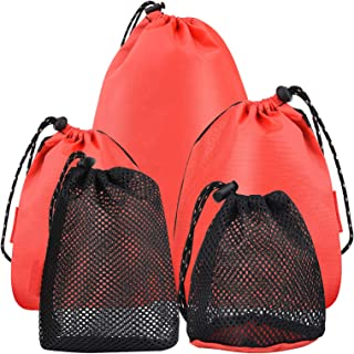 Wilxaw 5 Pcs Maille Sacs à Cordons Portable, Filet Sac de Rangement avec Cordon, Organisateur Stockage Pochette Pliable po...